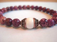 White Agate and Ruby Impression Jasper by peaceofminejewelry, $22.00