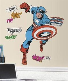 New GIANT CAPTAIN AMERICA WALL DECALS Boys Bedroom Stickers Marvel Room Decor