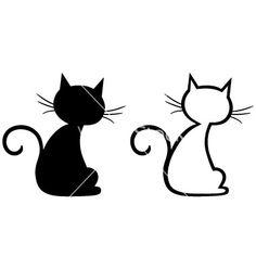 Kitten Silhouette Outline | Silhouette kitten vector