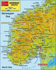 Map of South Norway (Norway) - Map in the Atlas of the World - World Atlas Trondheim, Stavanger, Kristiansund, Norway Roadtrip, Norway Travel, Lillehammer, Alesund, Lappland, Holidays In Norway