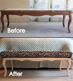 Old Coffee Table...re-purposed into a fabulous uph - Old Coffee Table...re-purposed into a fabulous upholstered bench!!   Love this!  This site has the step-by-step tutorial on how to make it.  Repinly Home Decor Popular Pins