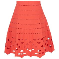 D.Exterior Cut-Out Skater Skirt (1.315 RON) ❤ liked on Polyvore featuring skirts, red skirt, circle skirt, flare skirt, d.exterior and red skater skirt