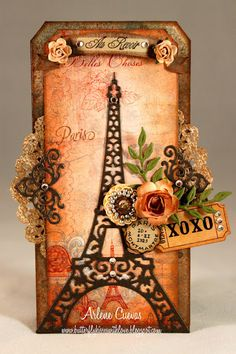 Arlene Cuevas: Butterfly Kisses Designs (Graphic 45 design team) La La Land Crafts Eiffel Tower die.