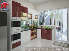 Mẫu tủ bếp chữ L gam màu nổi bật, ấn tượng cho phòng bếp TBX124