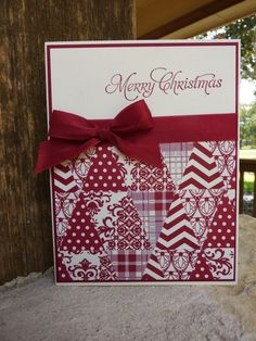 handmade Christmas card  by Joan Robertson at Daily Stampede ... red and white ... pennant punched triangles of patterned papers form a patchwork quilt look ... luv it!!