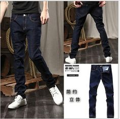 free shipping  Mens Jeans Slim Fit Classic denim Jeans Trousers Straight Size M L XL XXL