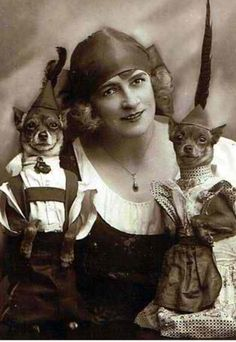 Vintage Chihuahua clothes!!!  Look at the little girl's HAT!!!
