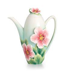Franz Porcelain Collection Geranium Garden Teapot