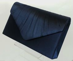 Ladies NAVY BLUE Pleated Satin Envelope Evening Clutch Bag Handbag Bridal Prom in Clothes, Shoes