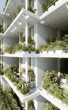 Green & Vegetal Sky Villa Residences in India – Fubiz Media Green Architecture, Futuristic Architecture, Sustainable Architecture, Sustainable Design, Architecture Details, Amazing Architecture, Pavilion Architecture, Residential Architecture, Contemporary Architecture