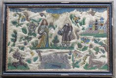 English 17th Century Stumpwork and Beadwork Picture c. 1660