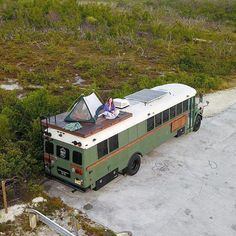 Michael Fuehrer on Living with 6 people on my bus means that sometimes you need to use every available space. Roof top decks are great for hanging out and Camping Car Van, Tent Camping, Outdoor Camping, Glamping, Bus Remodel, School Bus Tiny House, Converted School Bus, Used School Bus, School Bus Rv