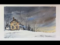 Line and Wash Watercolor. Dramatic nighttime sky. Simple, fun and easy. Peter Sheeler - YouTube
