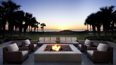 Amelia Island, FL, Ritz Carlton - Courtyard Terrace Firepit is perfect setting for intimate conversations