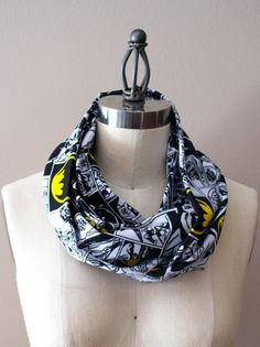 Batman Comic Strip Infinity Scarf by StinkeeCheese on Etsy, $25.00. #batmanscarf, #stinkeecheese