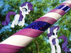 Rarity Style Weighted Travel Hula Hoop - My Little Pony Custom Design - White, Purple, glitter, sequin via Etsy