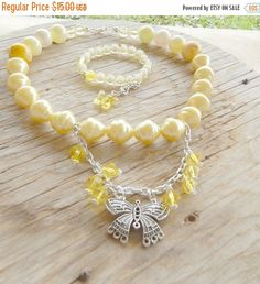ON SALE Girls Chunky Jewelry Set-Chunky Butterfly Jewelry Set