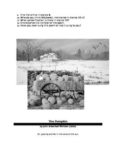 This activity provides the following poems: Over the River and Through the Wood by Lydia Maria Child, The Pumpkin by John Greenleaf Whittier, Thanksgiving by Kate Seymour Maclean, Thanksgiving by Ella Wheeler Wilcox, A Thanksgiving Poem by Paul Laurence Dunbar, The Thanksgivings translated from a traditional Iroquois song by Harriet Maxwell Converse,and Thanksgiving Song by Thornton W.