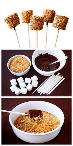 Smores on a stick. Rather than dip the marshmallow in the chocolate, it was better to twirl it against the side, then rolling it in the graham crumbs. It prevented too much chocolate from clumping up. These were a huge hit. Cake Pops, Yummy Treats, Sweet Treats, Yummy Food, Snacks Für Party, Thanksgiving Desserts, Tapas, Dessert Recipes, Desserts Diy