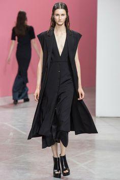 Theyskens' Theory 2014 RTW. oriental. black on black. layers. long vest. #TheyskensTheory #Spring2014 #NYFW