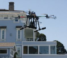 Special delivery: The drone can fly up to the terrace of the Alexandria Suite and deposit two bottles of champagne at a time.