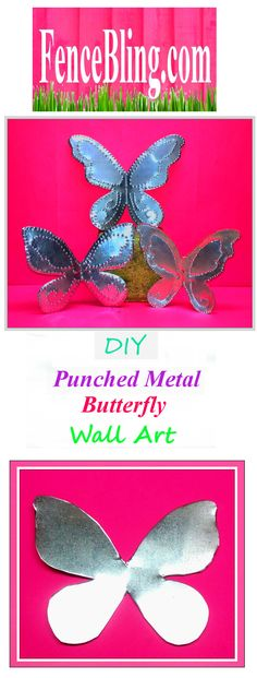 DIY Punched Metal Butterfly Wall Art is another great DIY tutorial from Fencebling.com.  This Punched Metal Butterfly Wall Decor is fabulous in any room of the house or Outdoors as well. Theses Butterflies are made from Steel and aluminum Metal Roof Flashing Hand cut and Hand Punched make beautiful Metal Punched Butterfly Wall Art. As Outdoor Punched Metal Wall Art they are perfect as well. Wont rust or rot make excellent Fence Bling, can highlight any drab yard that needs a little sparkle…
