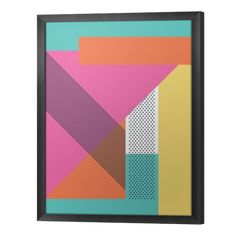 Abstract retro 80s background with geometric shapes and pattern. Material design wallpaper. Framed Canvas ✓ Easy Installation ✓ 365 Day Money Back Guarantee ✓ Browse other patterns from this collection!