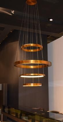 Ringed copper and wire chandelier