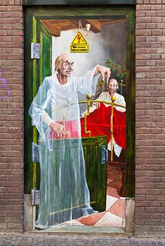 The ghost of Christmas past by Penwren. Street Art on a NYC Door.