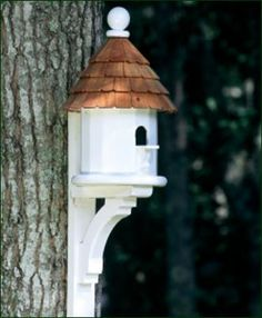 """Lazy Hill Small Shingled House - For any small bird. Painted white. 14"""" H. 9 1/2"""" W. It is crafted in solid cellular vinyl and painted white. Bracket sold separately"""