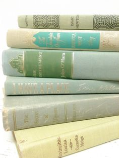 Decorative Books in Hemlock and Mint by beachbabyblues, $42.00
