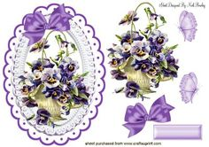 BASKET OF PRETTY LILAC PANSIES on Craftsuprint - Add To Basket!