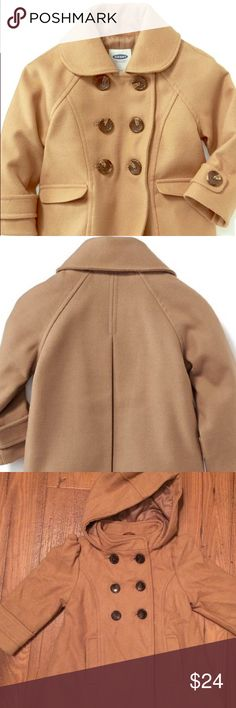 Precious Old Navy Petticoat 18-24 MO A beautiful brand new (NWOT) peacoat from Old Navy in cream caramel. Fully lined with hood for additional protection. Perfect for this Fall and Winter seasons! Old Navy Jackets & Coats Pea Coats