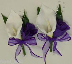 WEDDING FLOWER BRIDAL FLOWERS SILK CALLA LILY PIN CORSAGE WHITE PURPLE BOUQUETS