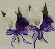 WEDDING FLOWER BRIDAL FLOWERS SILK CALLA LILY PIN CORSAGE WHITE PURPLE BOUQUETS