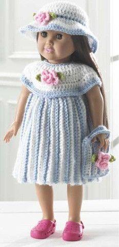 """Picture of 18"""" Doll Little Miss Rosalie Crochet Pattern"""