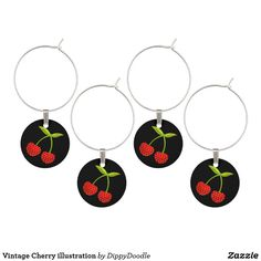Vintage Cherry illustration Wine Charms