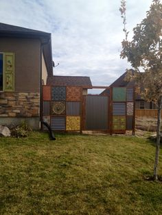 DIY: tin ceiling tile and corrugated metal fence