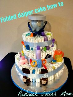 Folded method diaper cake how to, way faster and easier than rolling them.