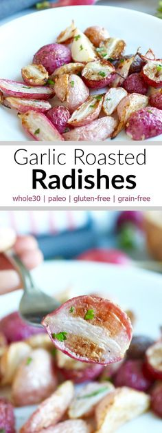Garlic Roasted Radishes are a unique yet delicious way to prepare radishes. Roasting the radishes brings out their sweetness that's otherwise masked be the peppery kick that they are known for. A must try recipe! | www.therealfoodrds.com |