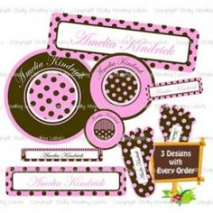 Pink 'n Chocolate Daycare Label Pack with Shoe Labels. Label everything from clothes, shoes, lunch containers, lunch boxes, water bottles, sports equipment, and more.