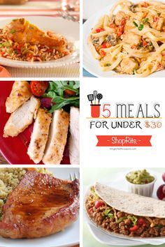 Meal Planning - 5 Meals for Under $30 at ShopRite - Recipes, Shopping Lists, Coupons & More