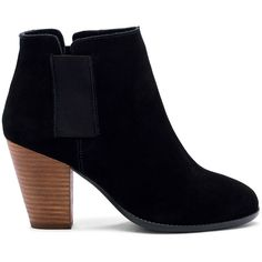 Sole Society Lylee Elastic Gore Stacked Bootie ($90) ❤ liked on Polyvore featuring shoes, boots, ankle booties, black, short suede boots, short boots, ankle boots, black booties and black ankle booties