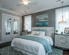 Grays and blues in a bedroom are so serene NEED THAT RUG FOR MY ROOM