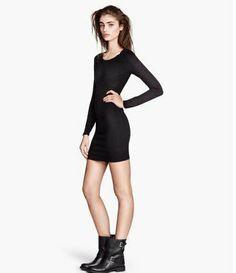 Fashoin Enchating Dizzying Black Cotton round neck Long Sleeve Plain Fashion Dresses JC129-3 US$22.9