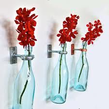 Turquoise Wine Bottle Flower Vases (3) - Special Listing For Angela