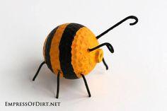 DIY Garden Buggies - recycled golf ball craft -bumblebee #earthday