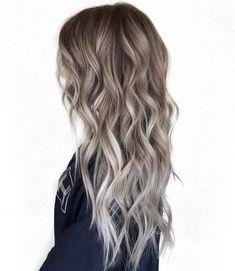 brown hair with grey balayage highlights
