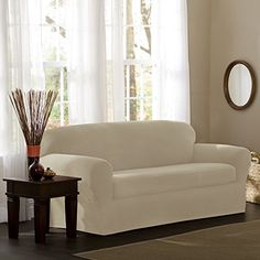 Maytex Reeves 2 Piece Stretch Loveseat Slipcover / Furniture Cover (Off-White (Beige)) Armchair Slipcover, Furniture Slipcovers, Dining Chair Slipcovers, Furniture Covers, Cushions On Sofa, Furniture Ideas, Box Cushion, Couch Covers, Home Decor Shops