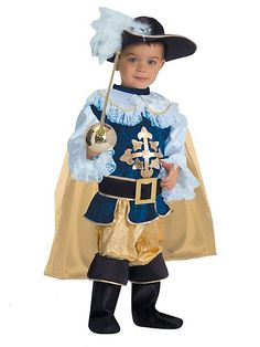 Go on an adventure in this Musketeer costume! Toddler Boys Deluxe Musketeer Costume features a feathered hat, gold cape, Musketeer outfit and boots. Costume Garçon, Warrior Costume, Toddler Halloween Costumes, Boy Costumes, Halloween City, Diy Halloween, Toddler Boys, Kids Boys, Musketeer Costume